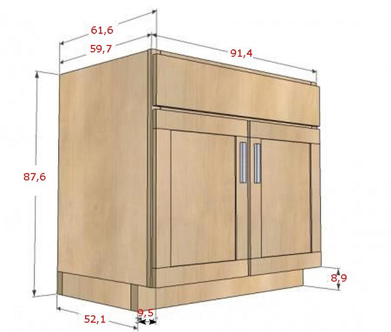 Кухонный модуль с двумя дверьми и верхним ящиком