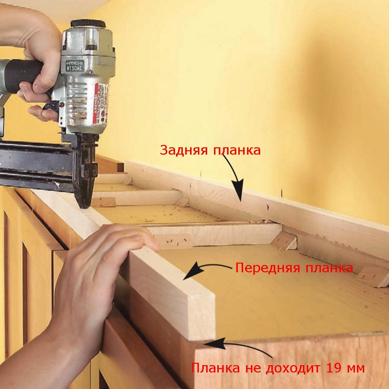 Крепим детали короба для короны к верху шкафов