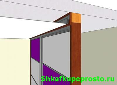 Натяжной потолок и встроенный шкаф купе, крепление багета к фальшь панели.