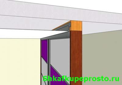 Натяжной потолок и встроенный шкаф купе, крепление багета к деревянному брусу.