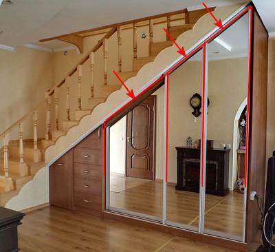 Шкаф купе под лестницей.