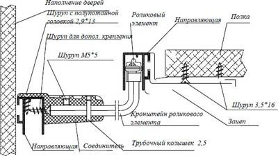 Схема монтажа рельсы и поводка для скосной двери купе в мансарду.