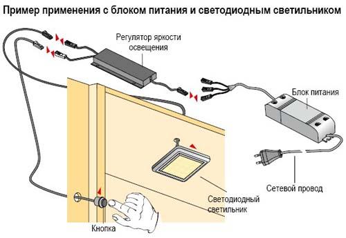 Пример применения диммера для подсветки в шкафу купе