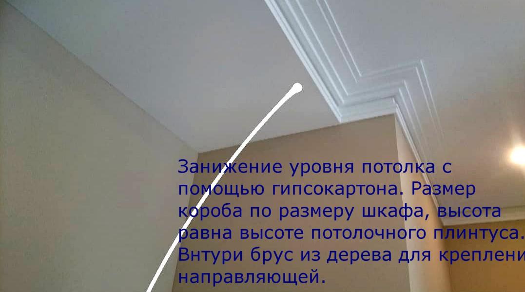 Короб из гипсокартона по месту установки шкафа купе в нише
