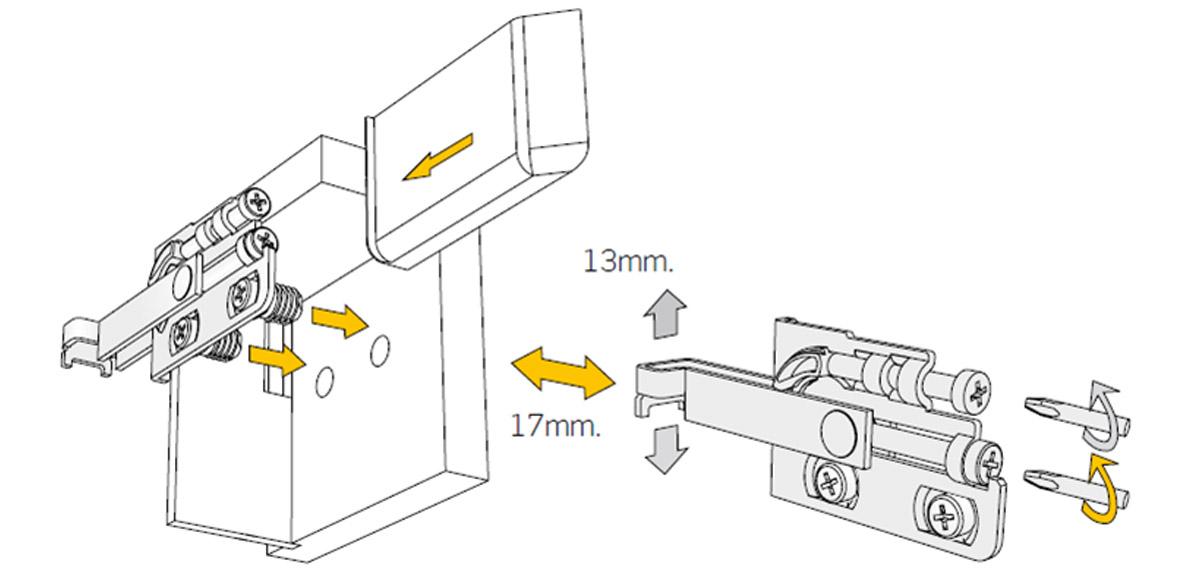 Регулировка  навесок для шкафов Scarpi-4
