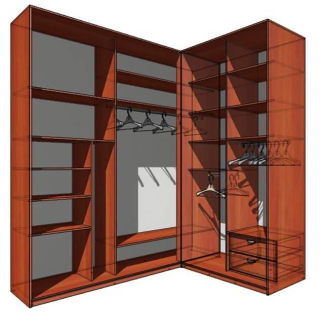 Шкафы купе  внутри угловые
