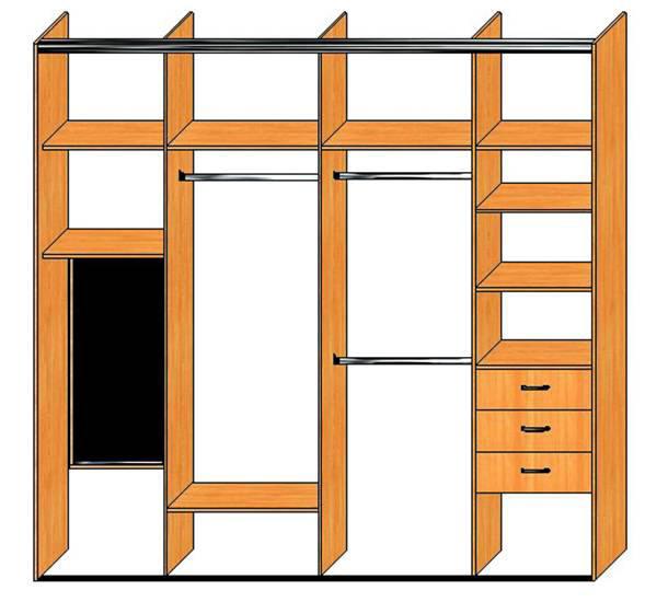 эскизы встроенных шкафов: