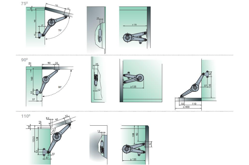 Схема монтажа подъёмного механизма Huwilift Duo Standard