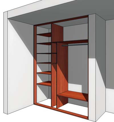 Как сделать шкаф купе без боковых стенок.