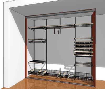Наполнение Elfa внутри шкафа купе - разновидность дизайна шкафа купе внутри.