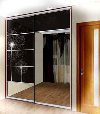 Шкаф купе оригинального дизайна - двери комбинированные, использовано зеркало и фотопечать на дверях шкафа купе.