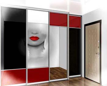 Эскиз шкафа купе с комбинированными дверьми купе - зеркало, крашеное стекло и фотопечать.