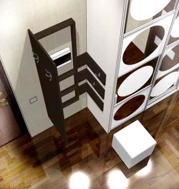 Необычное решение по навешиванию одежды на элементах примыкающих к шкафу купе.
