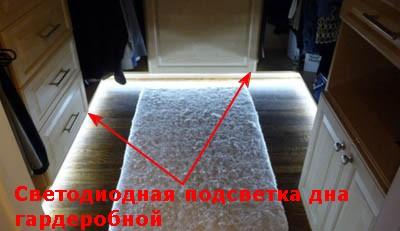 Подсветка светодиодной лентой дна гардеробной по периметру.