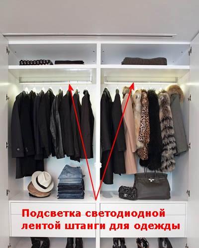 Подсветка светодиодной лентой штанг для одежды в гардеробной.