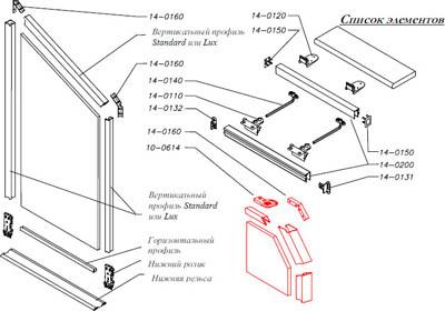 Схема сборки и передвижения дверей купе в мансарду от Командор.