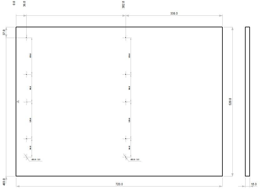 Схема сверления боковой стенки