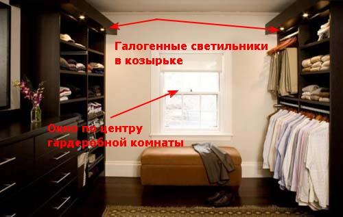 Освещение гардеробной.