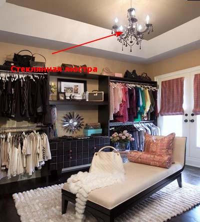 Освещение гардеробной комнаты.