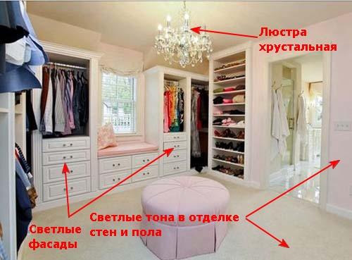 Светлые тона в гардеробной.