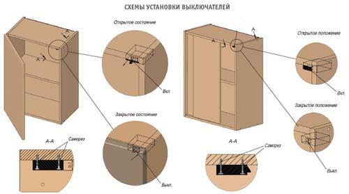 Схемы срабатывания выключателя