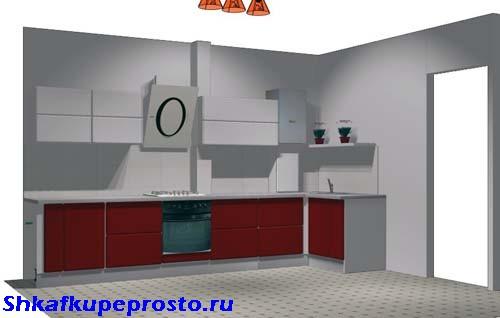 Проект кухни с белыми фасадами на шкафах и темно бордовыми фасадами на тумбах.