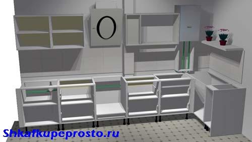 Каркасы тумб и шкафов кухни без столешницы при проектировании своими руками.