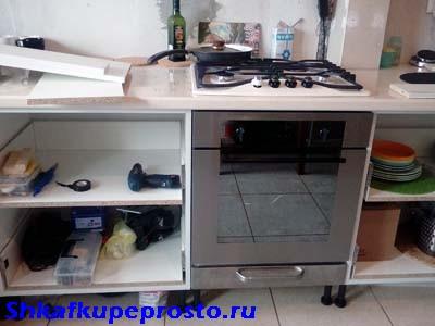 Тумба для встраиваемой духовки при изготовлении кухни своими руками.