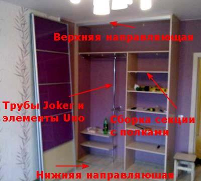 Встроенный шкаф купе - установка направляющих, сборка Joker, сборка секции с полками.